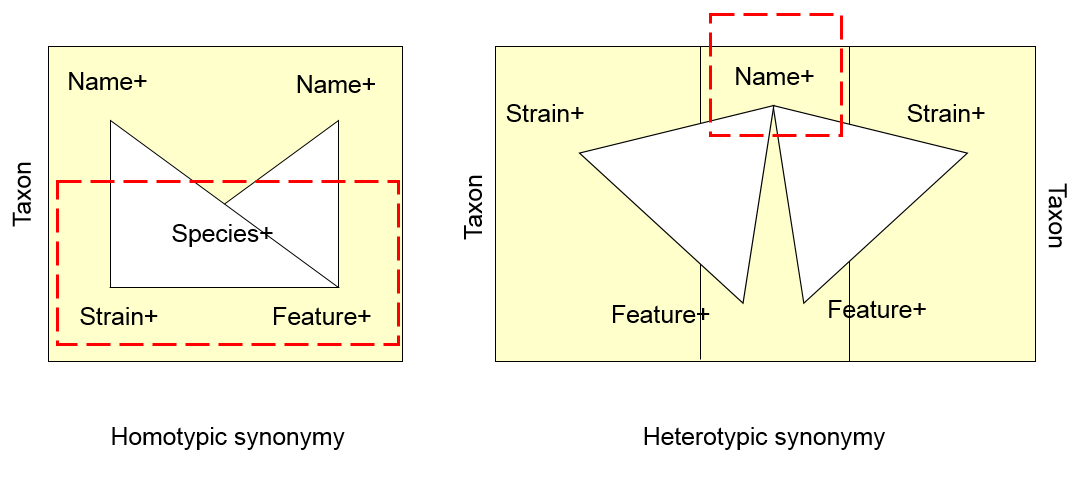 The NamesforLife model accomodates a variety of synonym types by mapping Information Objects to vertices of the semiotic triangle.