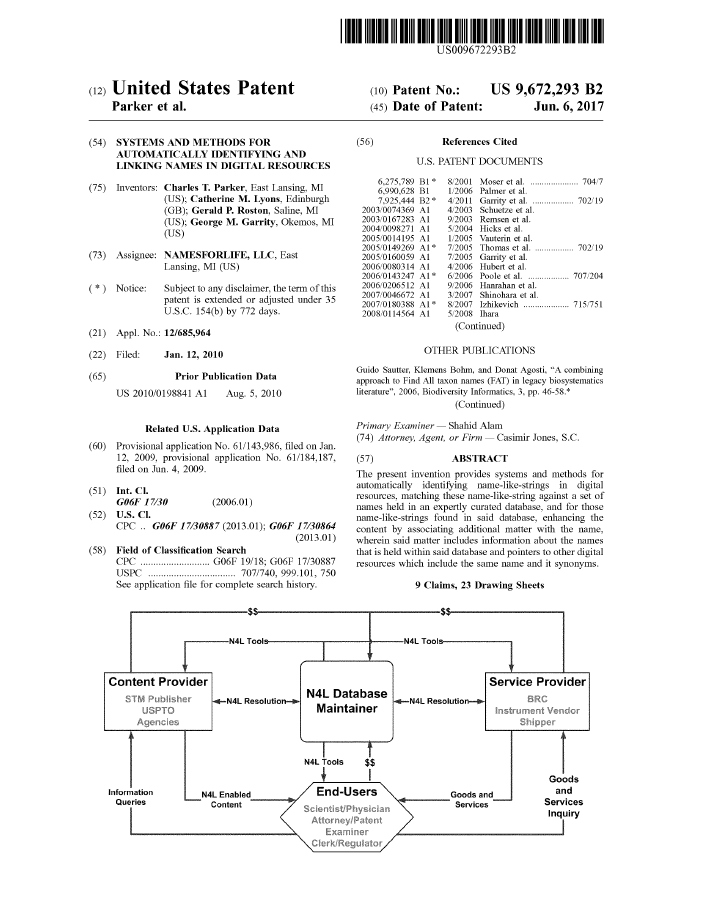 US 9,672,293 B2. Systems and Methods for Automatically Identifying and Linking Names in Digital Resources