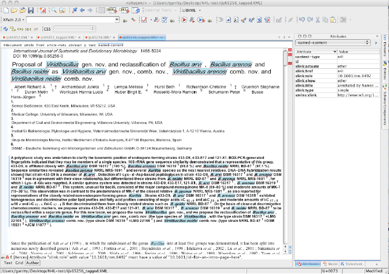 The NamesforLife processor automatically embeds NameDOIs into XML instances of manuscripts without disrupting the editorial or production workflow. When coupled with an XSL/CSS style sheet, strings that are identified as names can be highlighted for editorial review.